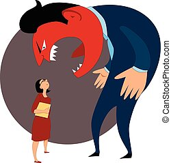 Verbal aggression - Monster boss yelling at a female worker,...