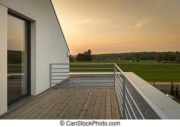 verbazend, balkon, aanzicht