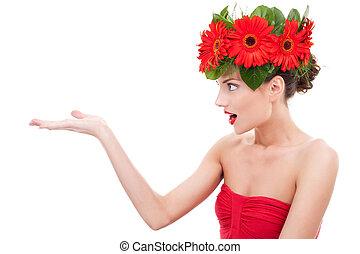 verbazend, bloem, vrouw, het voorstellen