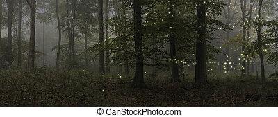 verbazend, fantasie, stijl, landscape, beeld, van, fireflies, in, nachttijd, bos, scène