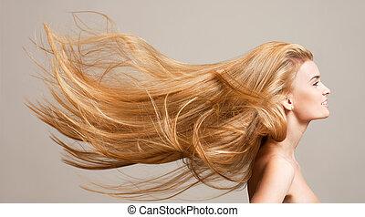 verbazend, vloeiend, hair.