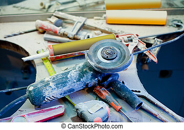 verbetering, bestoft maken, clutter, verward, thuis, gereedschap