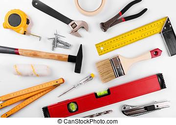 verbetering, bouwsector, doe het zelf, thuis, witte , gereedschap