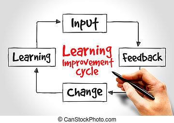 verbetering, leren, cyclus