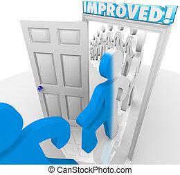 verbetering, mensen lopend, door, verbeterde, veranderen, deuropening
