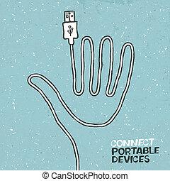 verbinden, draagbaar, artikelen & hulpmiddelen, concept,...