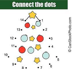 Punkte, erzieherisch, printable, game., kinder, feiertage, jahr ...