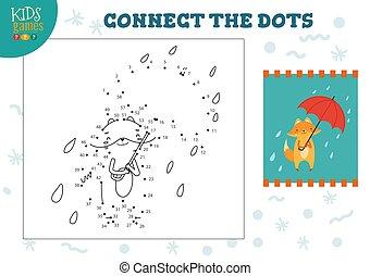 verbinden, spiel, mini, vektor, punkte, kinder, illustration.