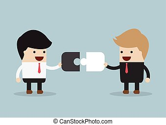 verbinden, zakenman, raadsel, twee, piec