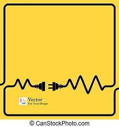 verbinding, concept, electricity., scheiding
