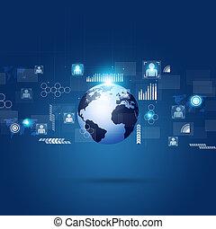 verbinding, globaal, technologie