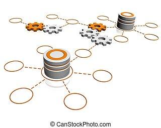 verbinding, netwerk, databanken