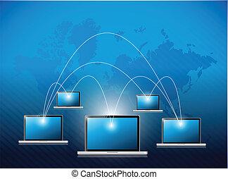verbinding, ontwerp, draagbare computer, illustratie, netwerk