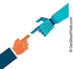 verbinding, robotachtig, menselijke handen