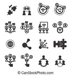 verbinding, set, pictogram