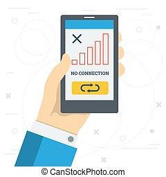 verbinding, smartphone, meldingsbord, monitor, nee