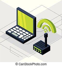 verbinding, wifi, draagbare computer, isometric