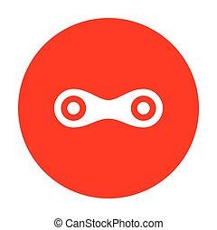 verbindung, zeichen, illustration., weißes, ikone, auf, rotes , circle.