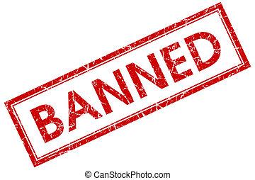 verboden, rode plein, postzegel, vrijstaand, op wit, achtergrond