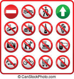 verboden, set, symbolen