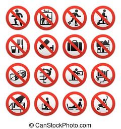 verboden, set, tekens & borden