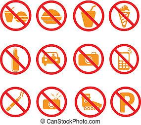 verboden, symbolen, set, tekens & borden, vecto