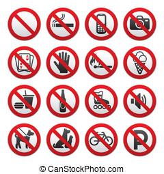 verboten, zeichen & schilder