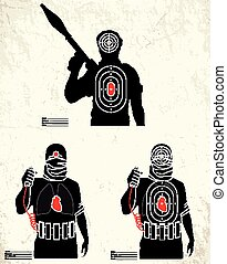 verbreidingsgebied, schietende , -, terrorist, doel