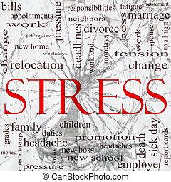 verbrijzelde, stress, concept, woord glas, wolk
