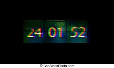 verbuiging, concept, grunge, infinitely, chaotisch, space., verhuizing, vasten, tijd, clock.