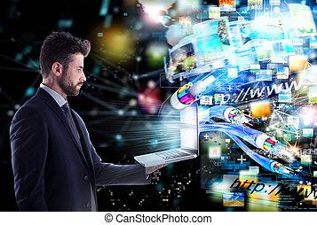 verbunden, geschäftsmann, mit, optisch, fiber., begriff, von, schnell, internet, teilen