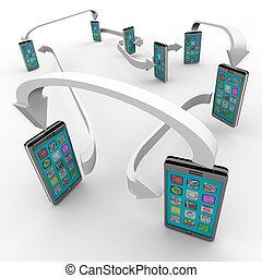 verbunden, klug, telefone, mobilfunk, kommunikation,...