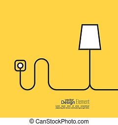 verbunden, lampe, outlet., boden, macht, draht
