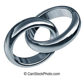 verbunden, partnerschaft, mit, verbunden, ringe
