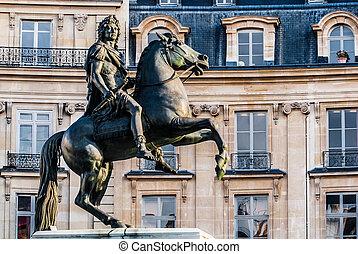 vercingetorix, cuadrado, estatua, parís, ciudad, francia
