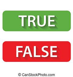 verdadeiro, falso, ícones