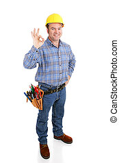 verdadero, aokay, trabajador, construcción, -