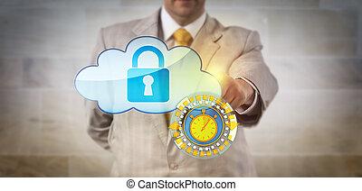 verdadero, asegurar, director, tiempo, datos, nube