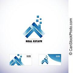 verdadero, azul, propiedad, casa, techo, logotipo