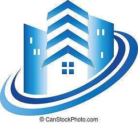 verdadero, casa, edificios, propiedad, logotipo