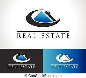 verdadero, casa, logotipo, propiedad, icono