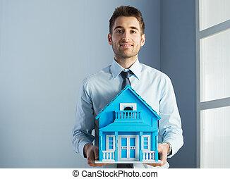 verdadero, casa, modelo, agente, propiedad