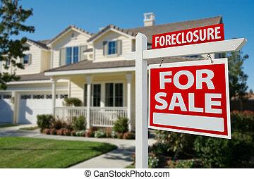 verdadero, casa, propiedad, ejecución hipoteca, señal