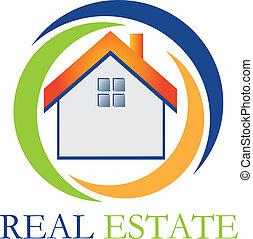 verdadero, casa, propiedad, logotipo