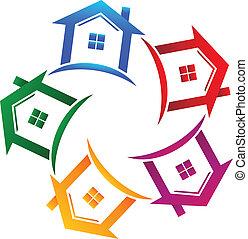 verdadero, casas, 5, propiedad, icono