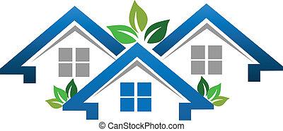 verdadero, casas, compañía, propiedad, logotipo
