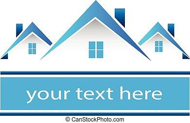 verdadero, casas, propiedad, logotipo