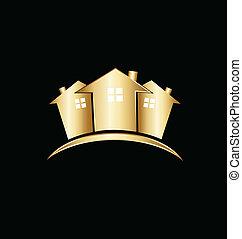 verdadero, casas, propiedad, oro, logotipo