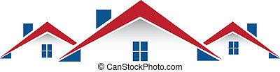 verdadero, casas, vector, propiedad, logotipo