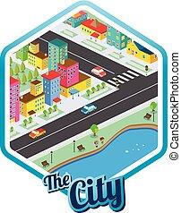 verdadero, ciudad, isométrico, propiedad, grande, plantilla...